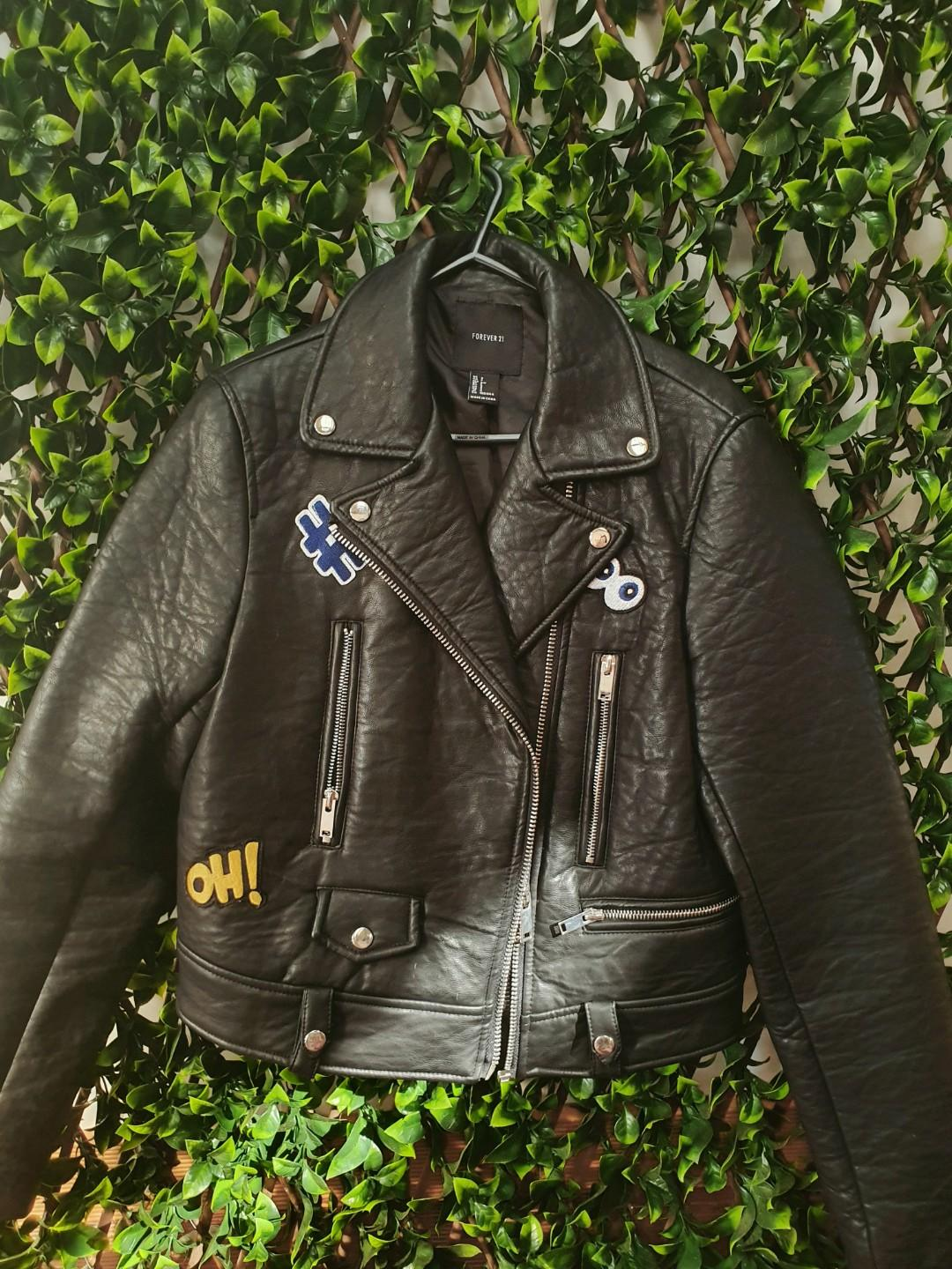 FOREVER 21 Goodbye Patch Moto Jacket (Faux leather)
