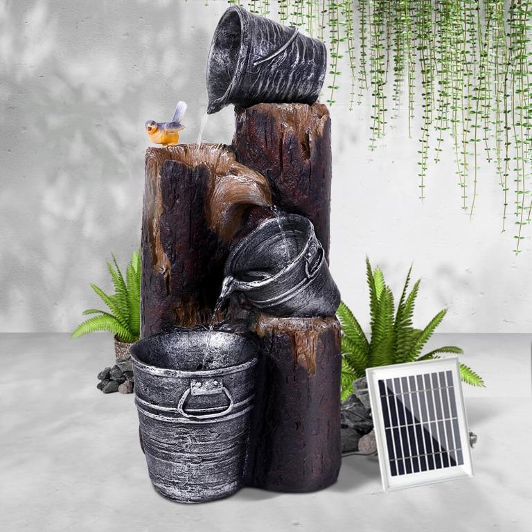 Gardeon Solar Water Fountain Feature Garden Bird Bath Outdoor Pump Panel Battery