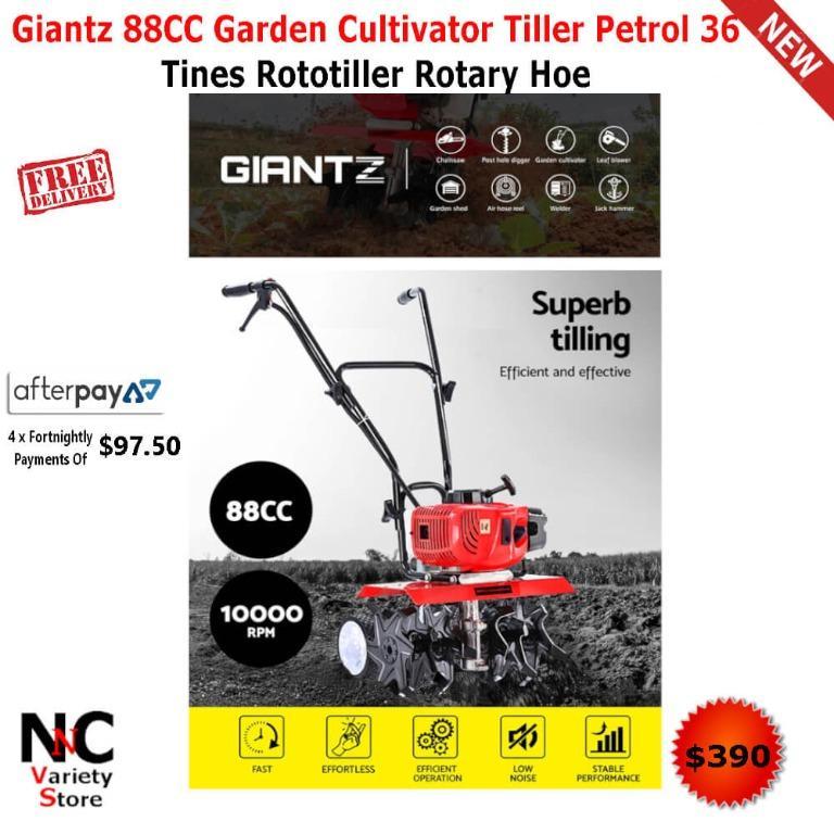 Giantz 88CC Garden Cultivator Tiller Petrol 36 Tines Rototiller Rotary Hoe