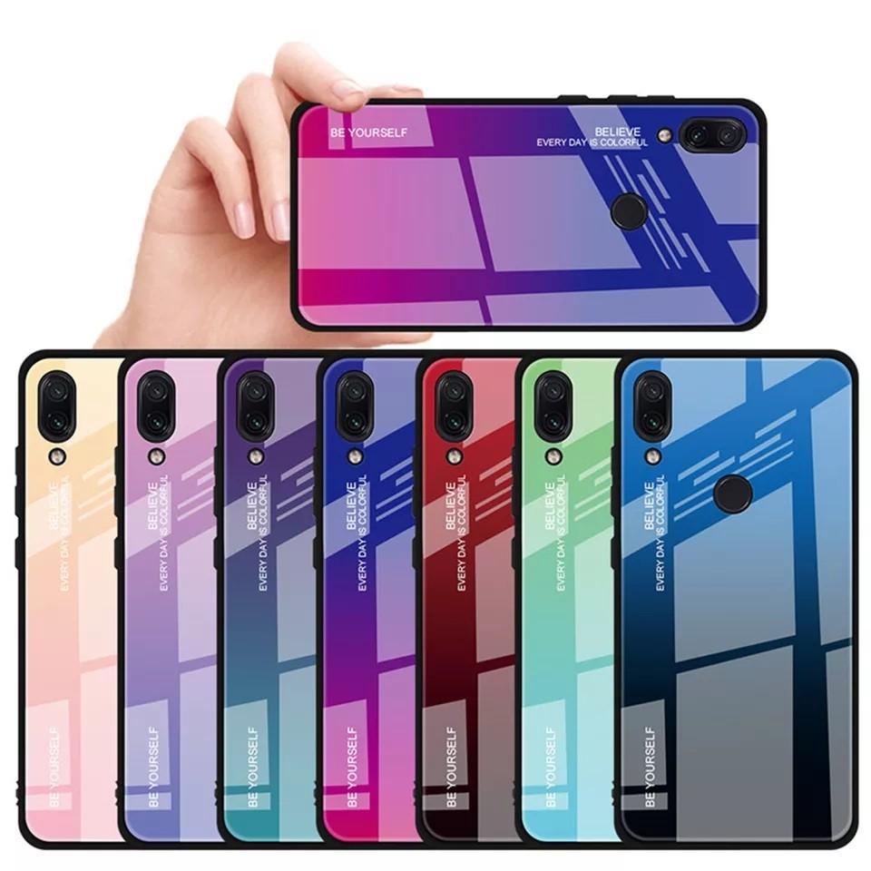 Gradient Tempered Glass Case For Xiaomi Redmi Note 7 5 6 8 Pro 6A Mi 9 8 A2 Lite Pocophone F1 Cover on Redmi Note 7 8 Pro Case
