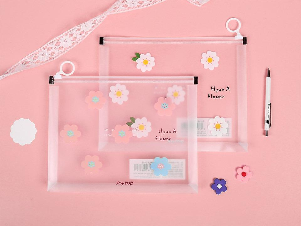 Hyuna Flower Zipper File Folder A4
