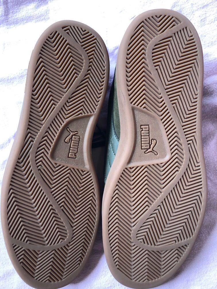 Khaki green puma shoes