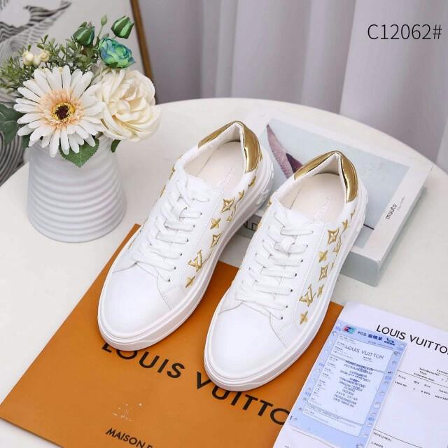 [LOUIS VUITTON TIME OUT WHITE SNEAKERS 12062] Sepatu Fashion Wanita Impor Murah