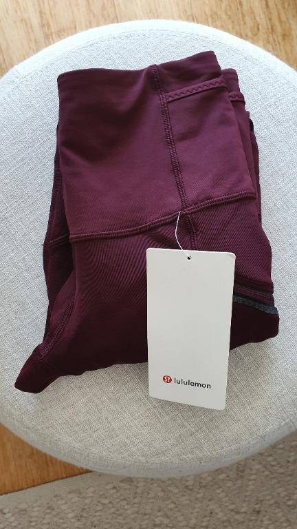 NEW Lululemon Fleece Lined Full Length Tights Size 4 (Aus 8) in Garnet RRP 139
