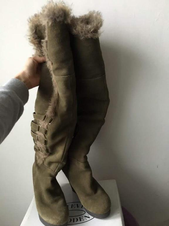 ★專櫃品牌NINE WEST★酷帥個性軍墨綠麂皮毛絨皮帶拉鍊楔型長靴37號