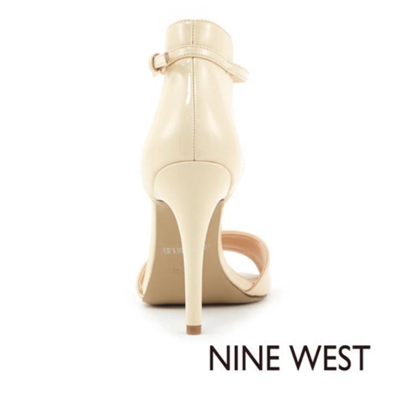 ★專櫃品牌NINE WEST★都會女伶氣質優雅米色繫踝高跟涼鞋