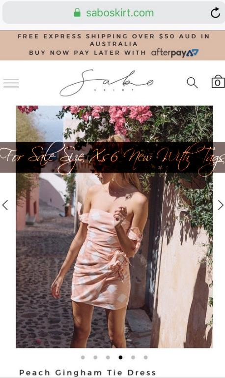 Peach Gingham Tie Dress Sabo Skirk Sabo Luxe New with Tags