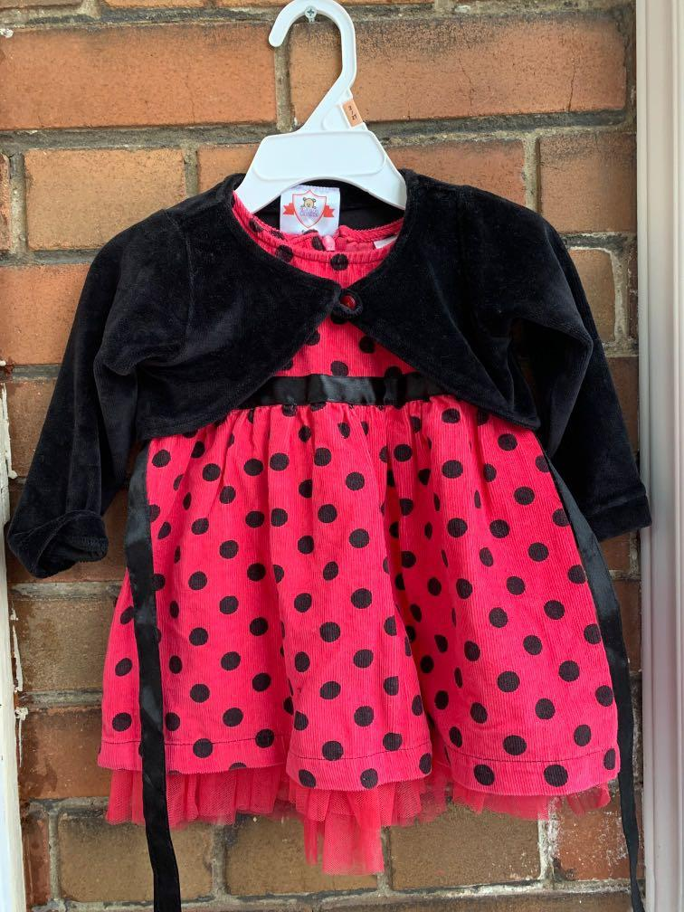 Pink and Black Polka Dot Party Dress with Jacket 6-9 months