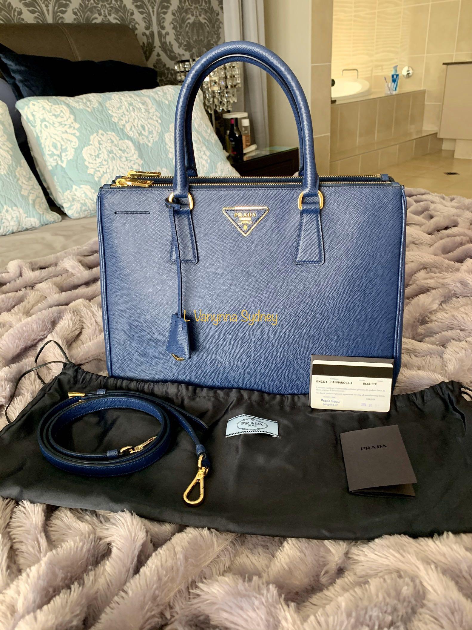 PRADA Bluette Saffiano Lux Leather Medium Tote BN2274 (Authentic) RRP $3,160