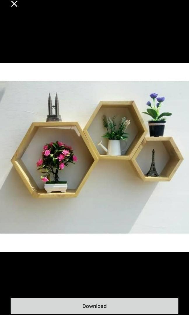 Rak Dinding Minimalis Hexagonal 1set 3pcs