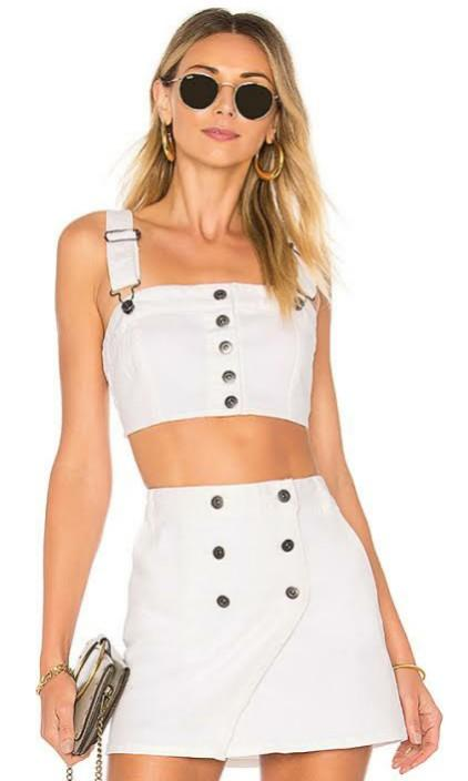 REPOP BB Dakota x Revolve White Young Hearts Crop Top and Front Row Skirt Set