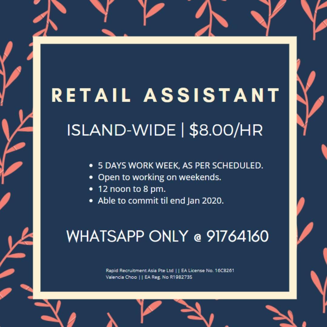Retail Assistant @ Islandwide