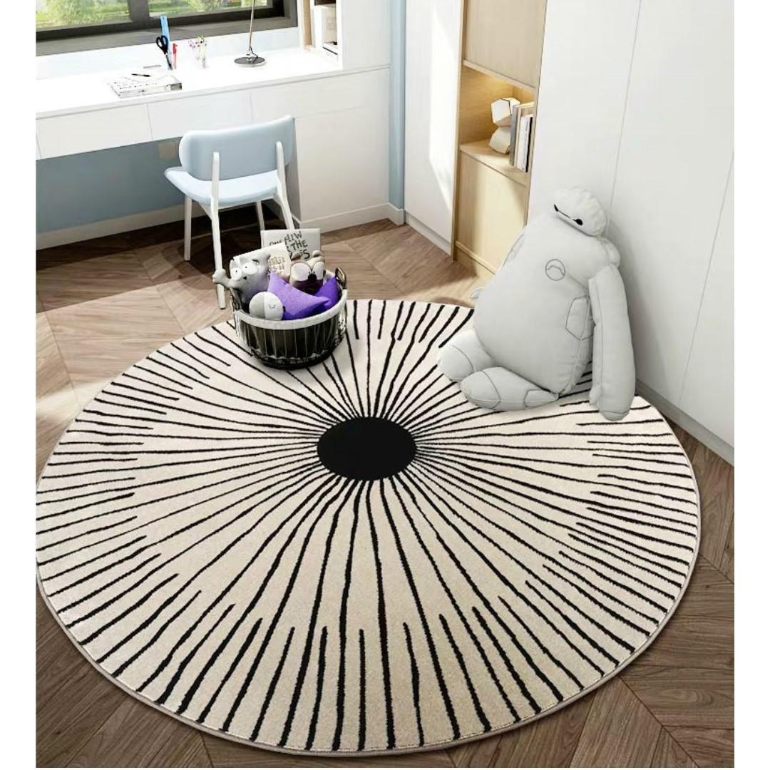 Round Monochrome Rug | Nordic Minimalist Scandi | Carpet