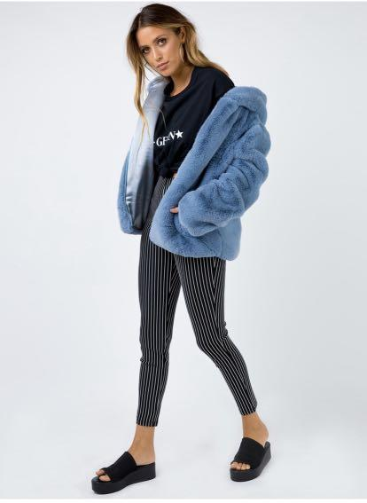 Twiin the label electric blue whatever hooded fur jacket