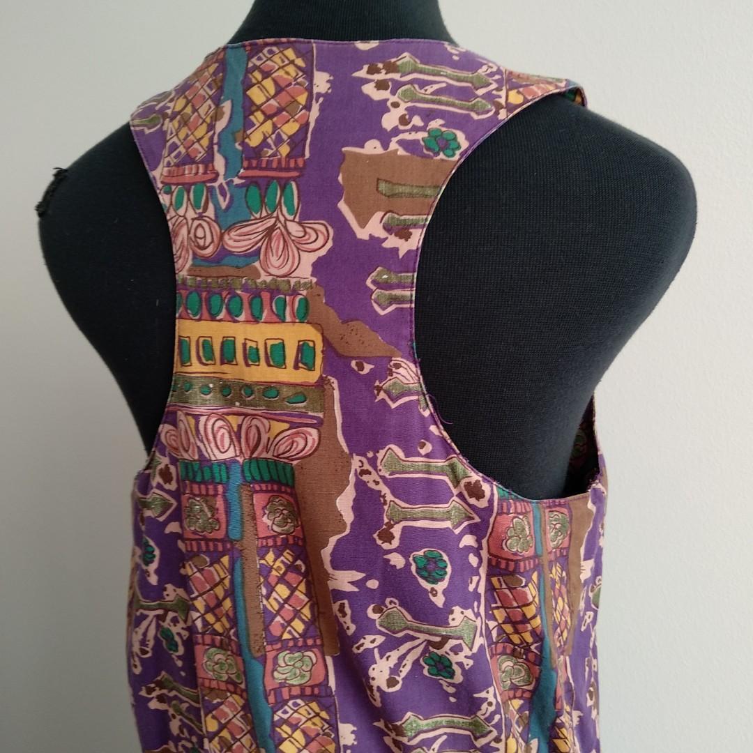 Vintage Sportsgirl purple pattern playsuit jumpsuit rompers AU 8 10