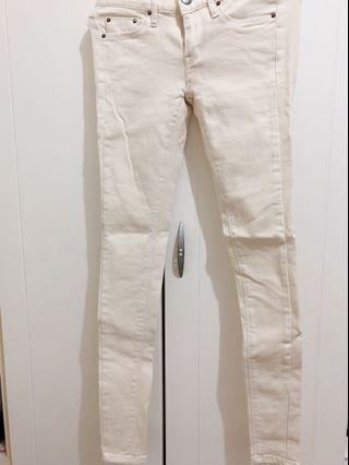 米白顯瘦貼腿褲 25腰