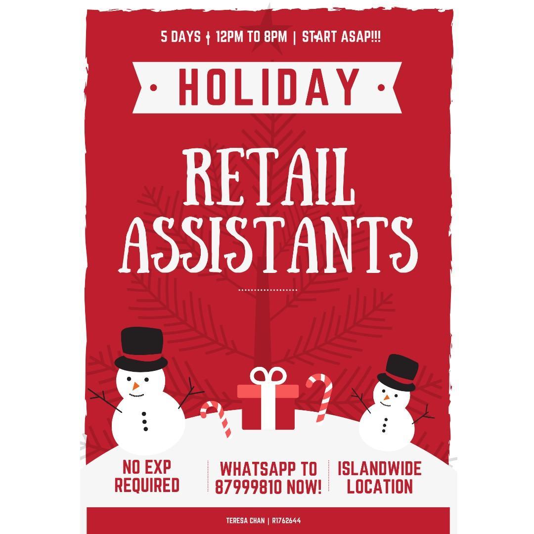 10 x Retail Assistants @ Islandwide ($8/hr, Start ASAP!)