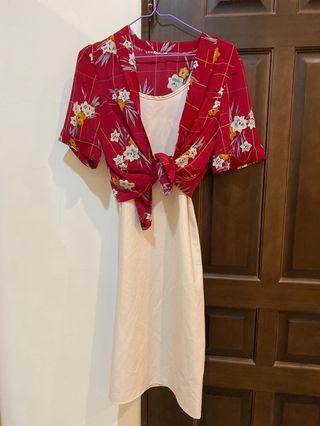 現貨實拍套裝👙 連身裙+碎花罩衫 細肩帶洋裝/露肩/小清新 雪紡長裙