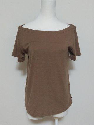 Airspace Lady 棕色 平口 造型 可愛  短袖 上衣 舒適 衣服 咖啡色