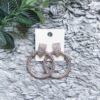 Multicolor Rhinestones Hoop Stud Earrings