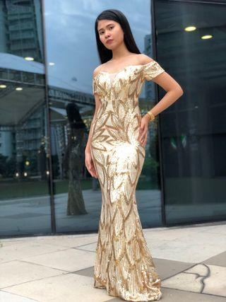 Gold Sparkly Gown  for rent