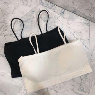 全新 BRA背心 小可愛 一片式胸墊 黑白一組
