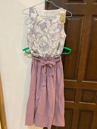 全新套裝👙雪紡碎花背心+綁帶花苞長裙 連身中長裙 花苞裙 半身長裙