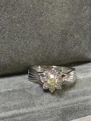 日製鉑金0.50克拉真鑽石戒指