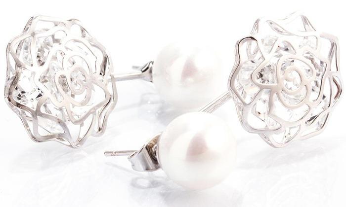 18K White Gold Plated Shell Pearl Drop Swarovski Elements Earrings