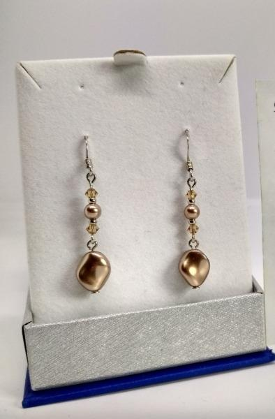 18K White Gold Plated Swarovski Crystals & Pearl Earrings (Gold)