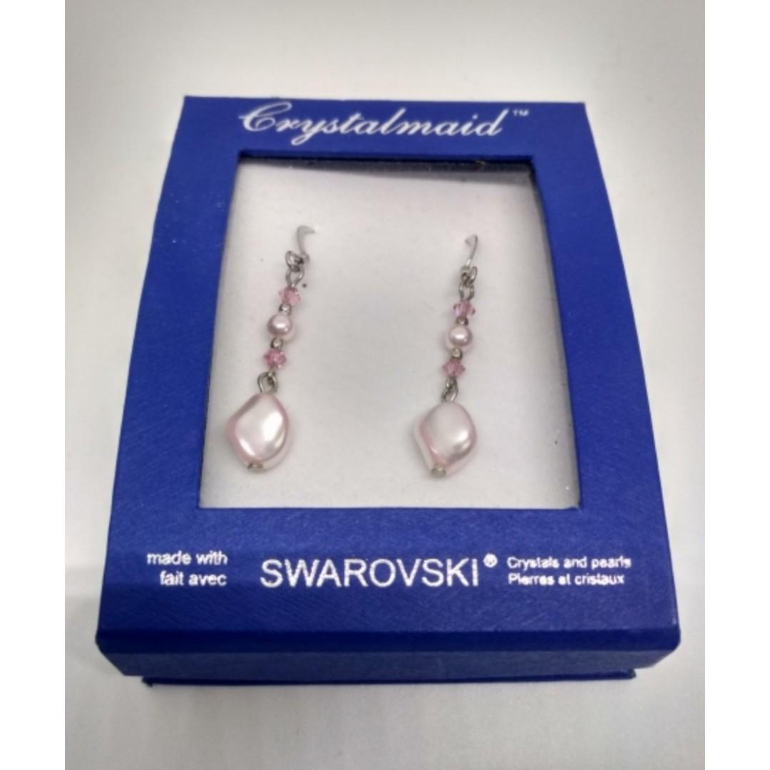 18K White Gold Plated Swarovski Crystals & Pearl Earrings (Pink)