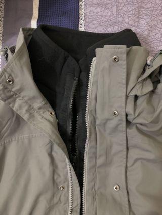 【全新】SMLSIUS可拆式長版連帽外套(內附刷毛背心❤️