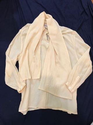 Maska絲麻材質領結襯衫文青文藝寬鬆