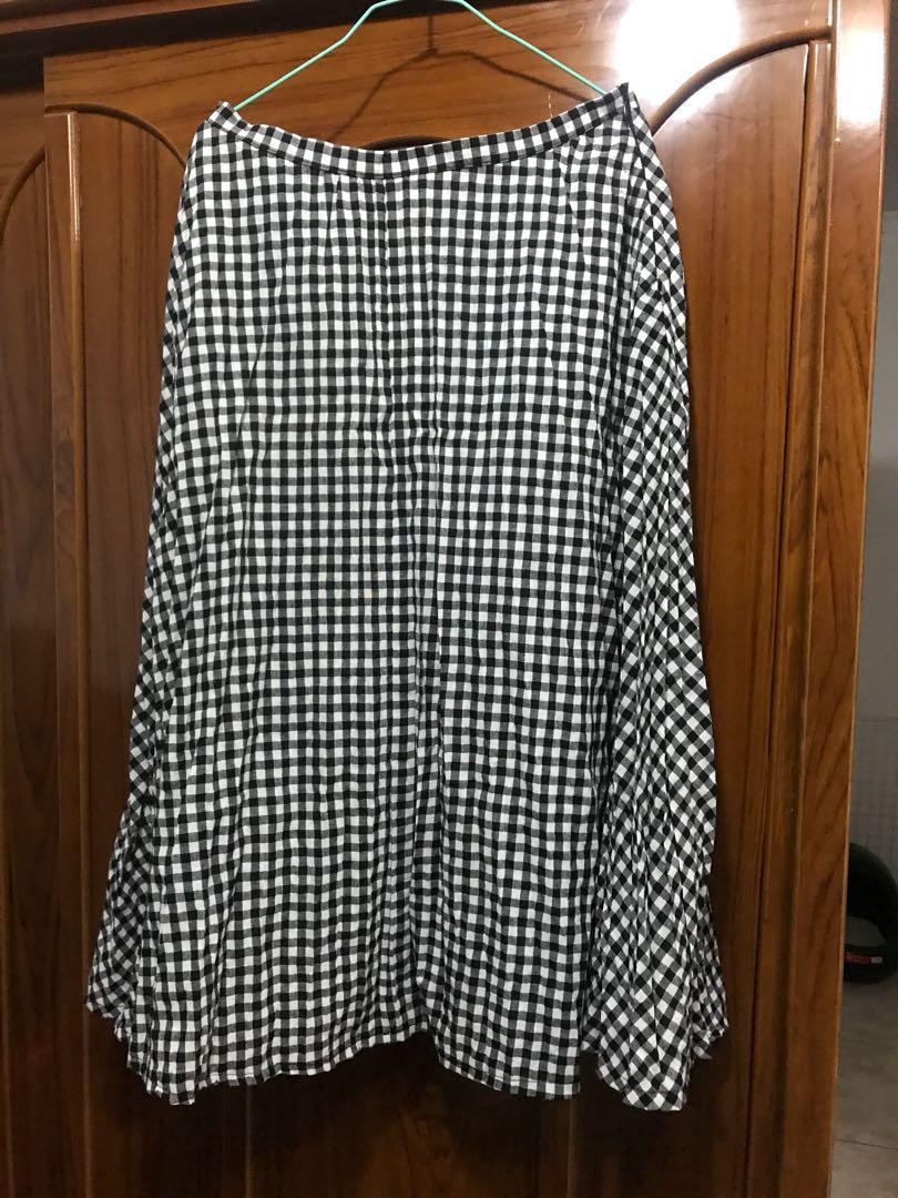 棉麻黑白格子長裙