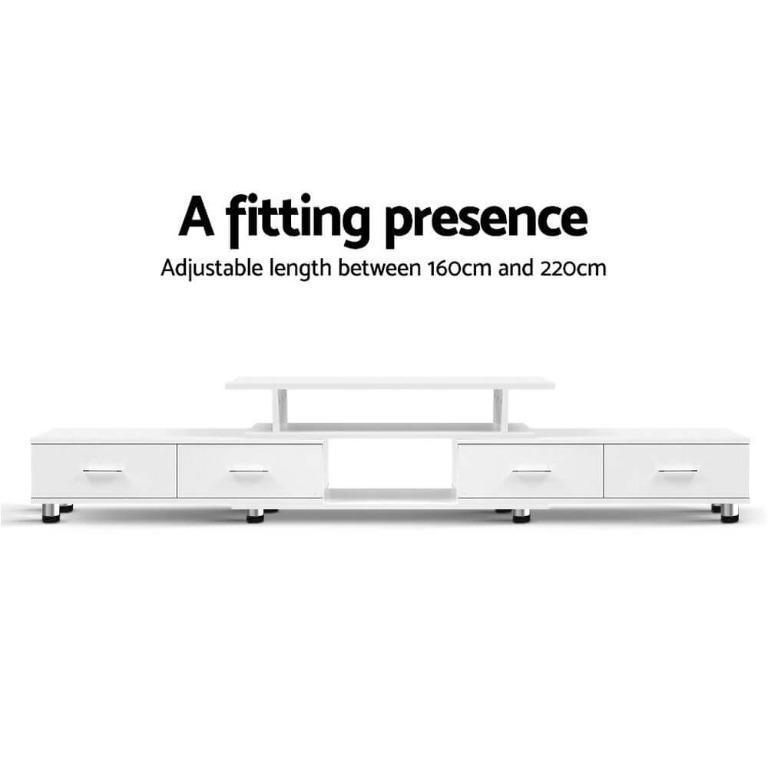 Artiss TV Cabinet Entertainment Unit Stand Wooden 160CM To 220CM Storage White