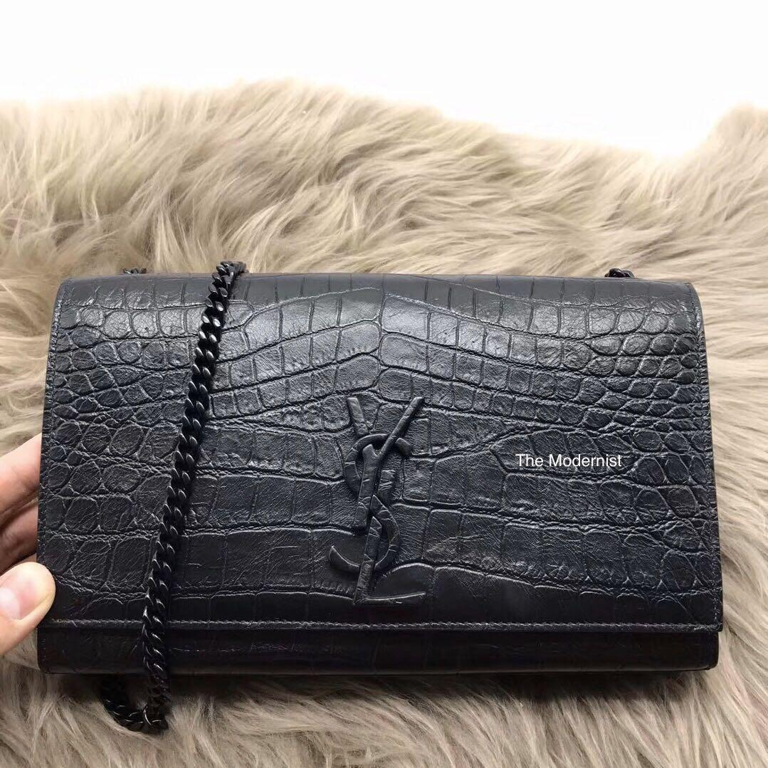 Authentic Brand New YSL Saint Laurent Kate Matte Black Croc Embossed Leather Bag