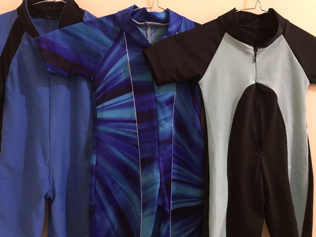 Baju Renang anak baby diving bahan lycra tebal elastis size 1-4 th swimsuit swimwear biru