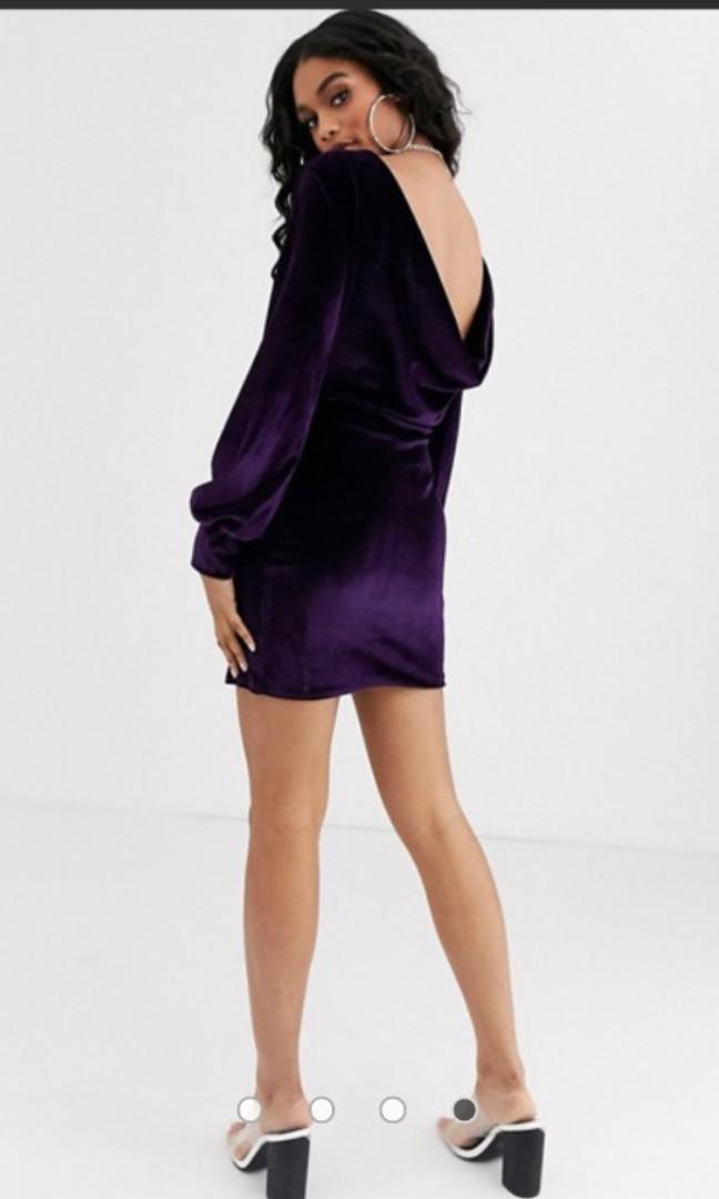 Boohoo exclusive cowl back velvet dress in dark purple