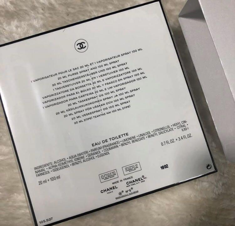 Chanel no.5 L'eau gift set 100ml perfume 20ml purse spray