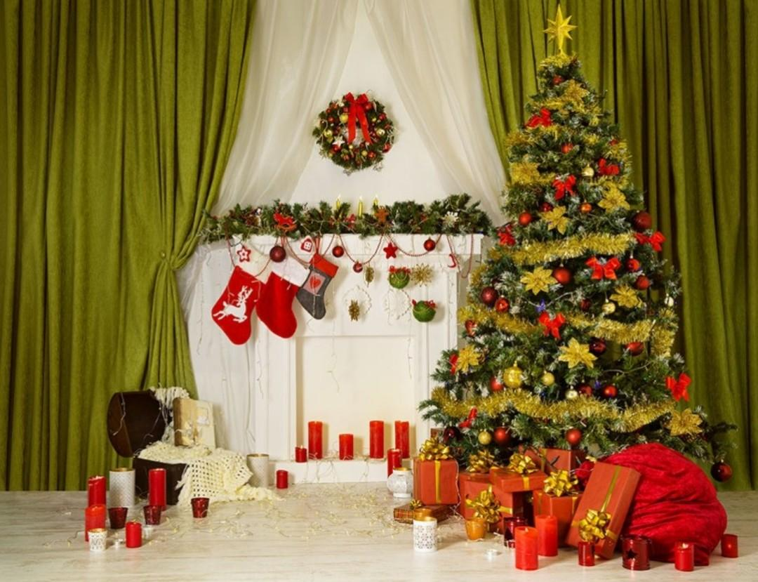 Christmas Themed Photography Vinyl Backdrop 10' x 20'