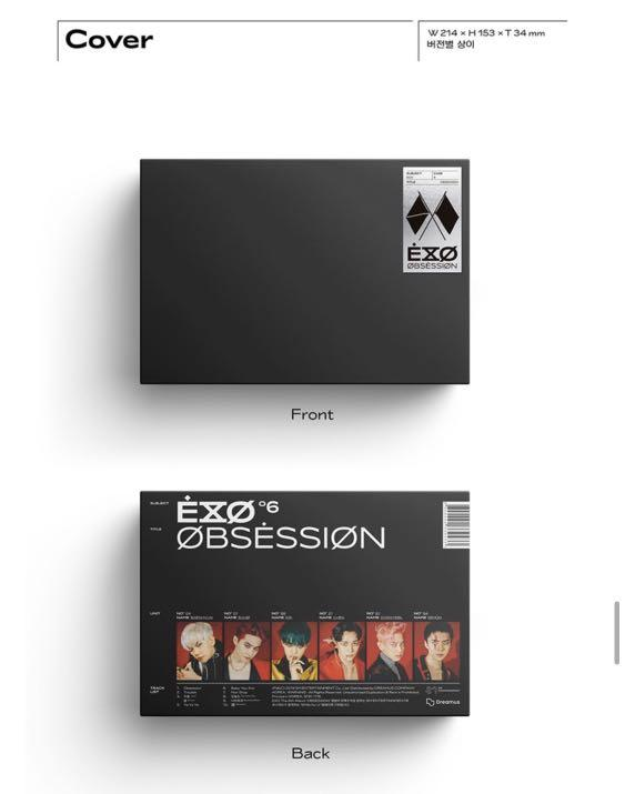 EXO  - EXO or X-EXO VER. OBSESSION] 6TH ALBUM SEALED -CD +LYRICS BOOK +PHOTO BOOK +PHOTO SLIDE +PHOTO CARD +FOLDED POSTER + POSTER +TRACKING