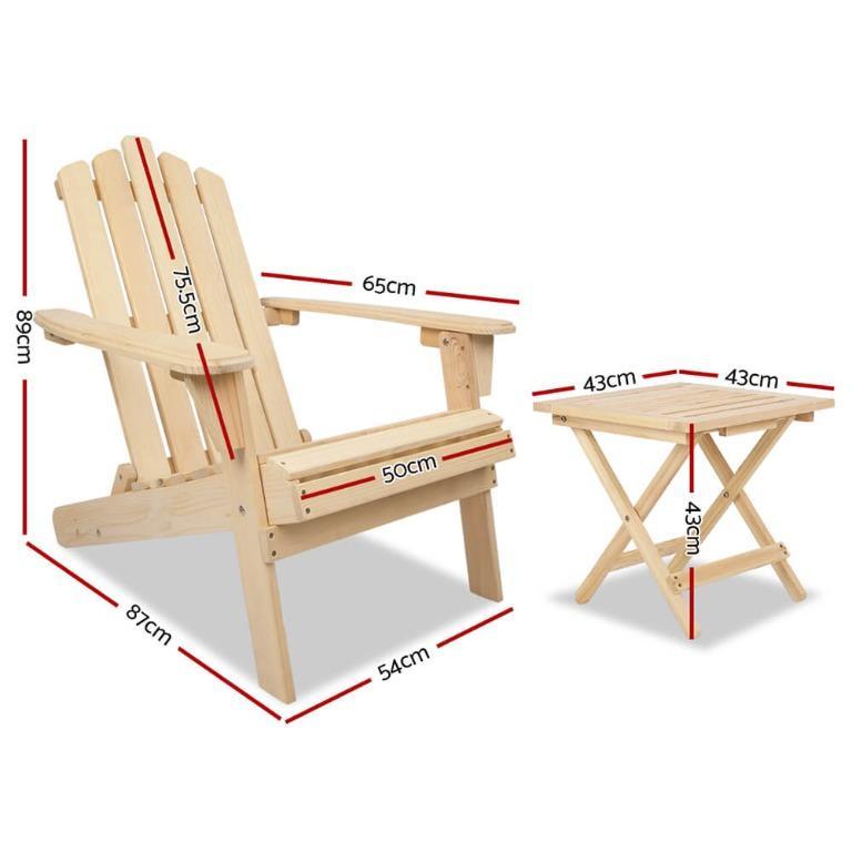 Gardeon Outdoor Chairs Table Set Lounge Patio Furniture Beach Chair Adirondack