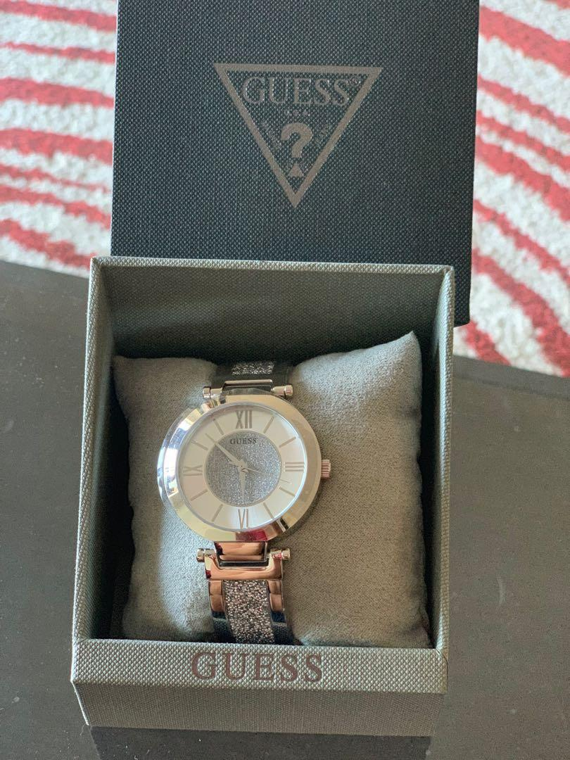 Guess Women's Silver Tone Analog Watch with Swarovski Crystals
