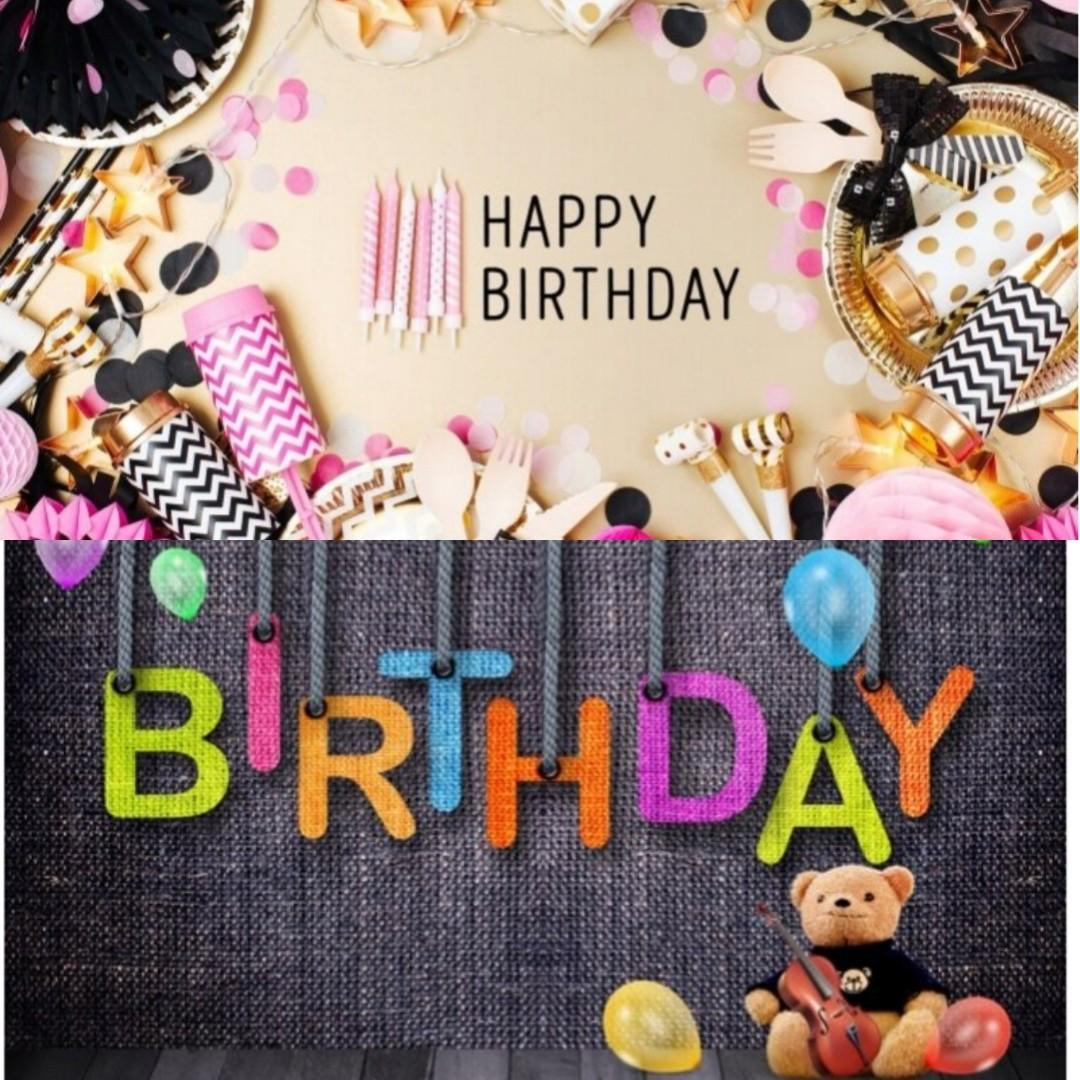 Happy Birthday Photography Backdrops 5' x 5' By Designs By You