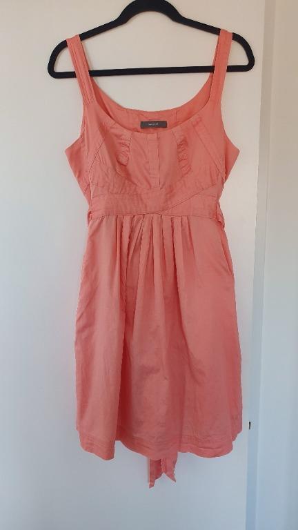 MARCS Pink Summer Dress Size 12 Tie Waist, Thick Straps, Pockets