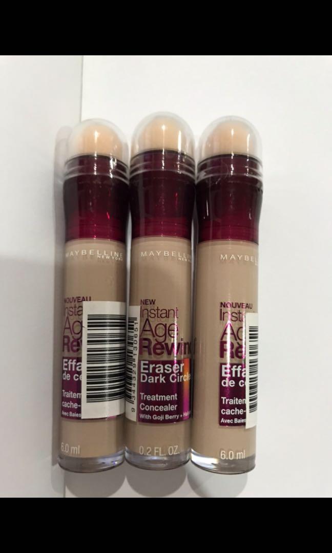 maybelline âge rewind concealer genuine shade fair lots of three sealed packaged