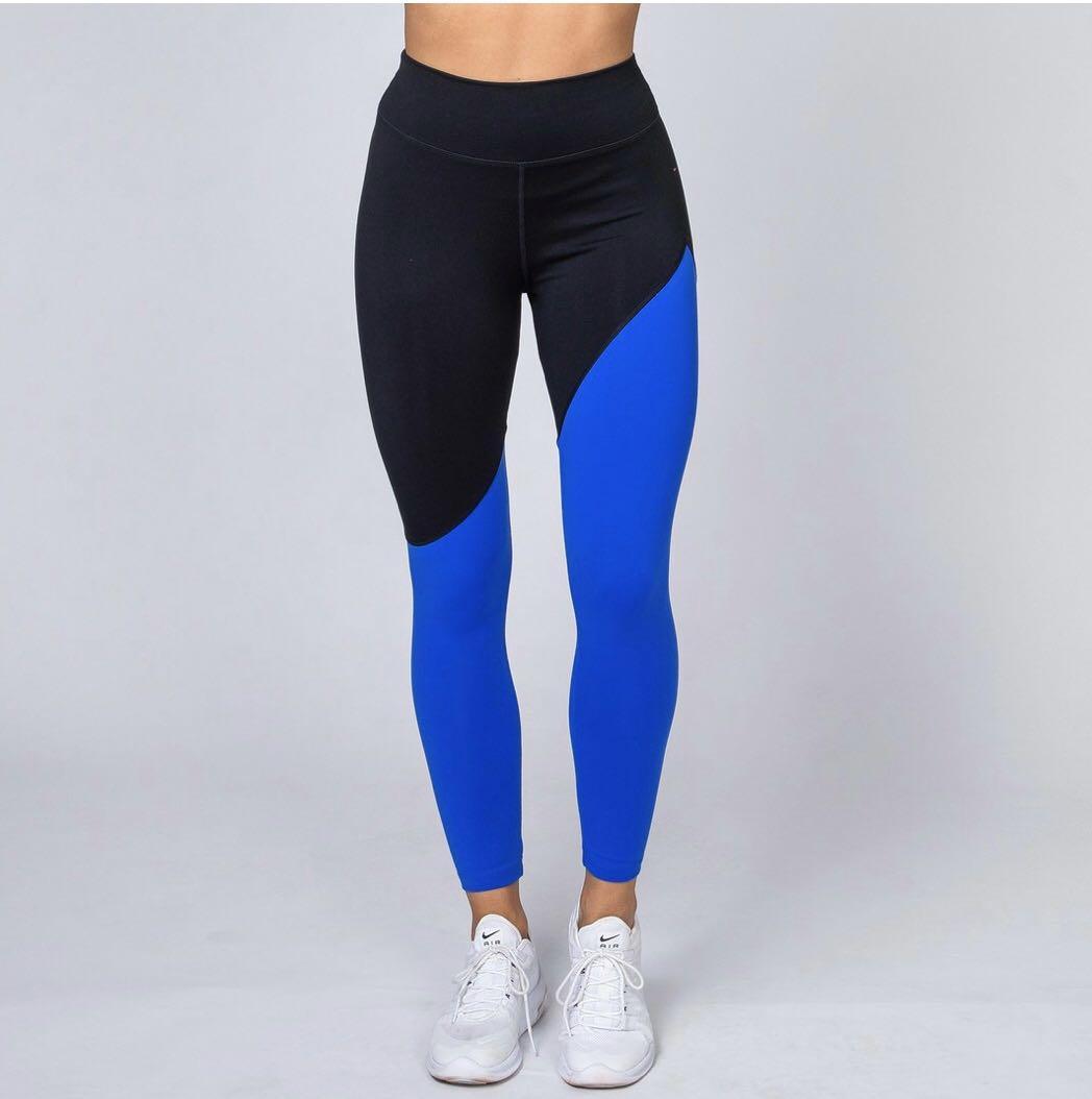Muscle Nation - Full Length Diagonal Blu/Blk Leggings - $84.95