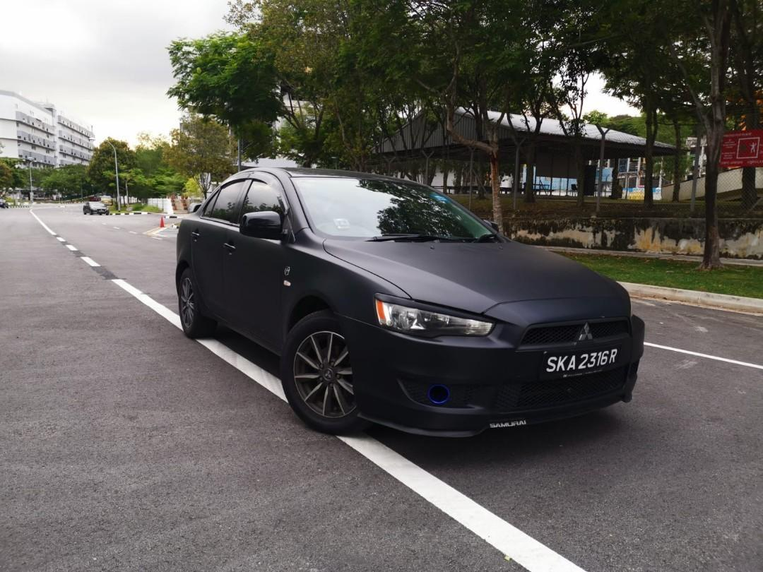 [RENT] Mitsubishi lancer matte black with exhaust for car rental grab gojek