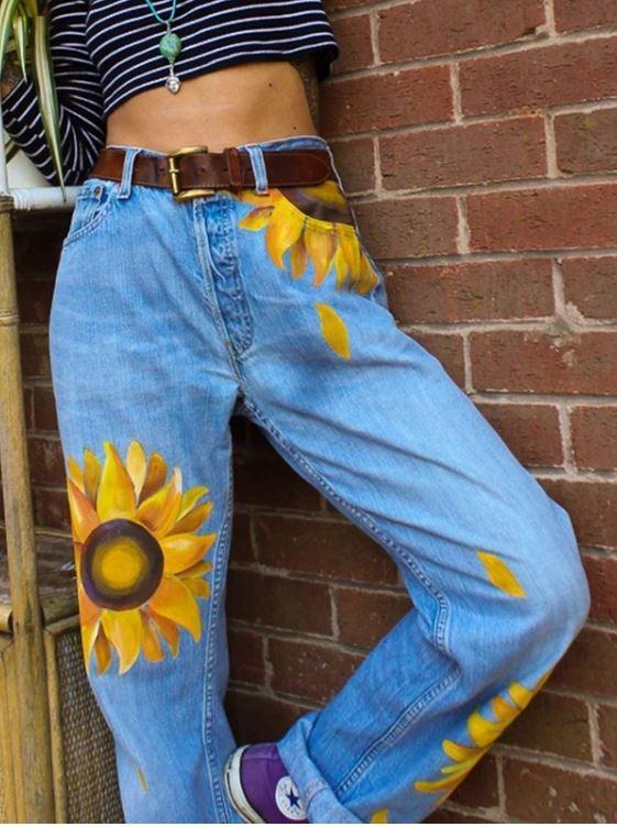 Ribbed Sunflower Style Patterned Women Denim Boyfriend Jeans