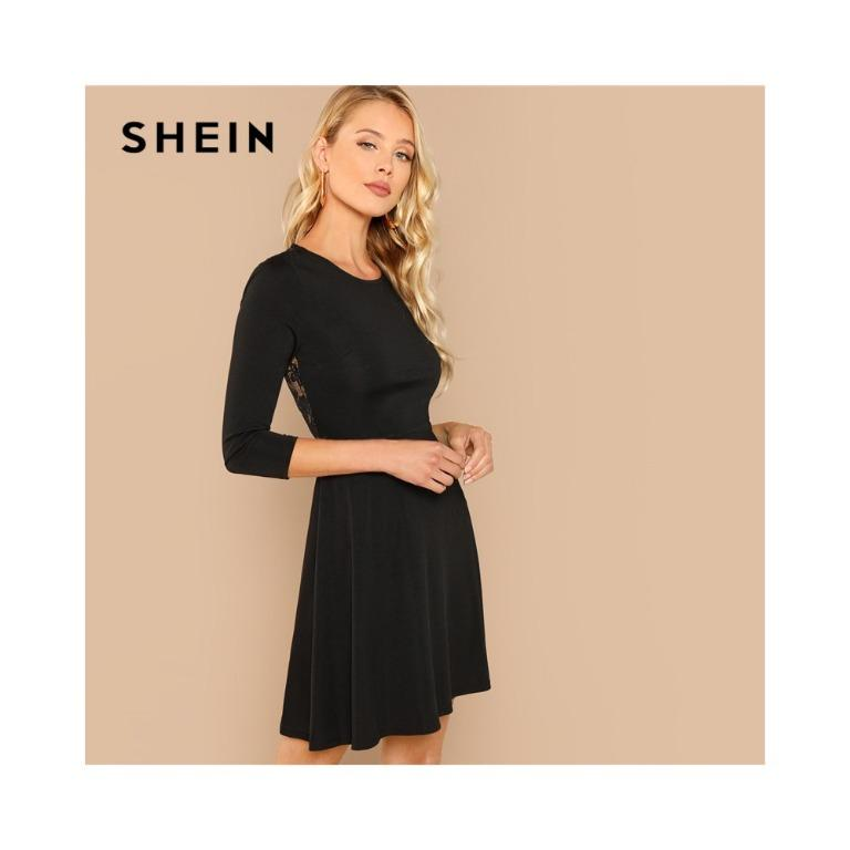 SHEIN Black Lace Backless Long Sleeve Dress Size Small / 8-10